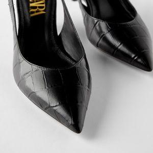 NWT Zara size 39 black slingback heels